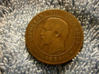 France: 10 Centimes 1854 - K (emperor Napoleon Iii) Fine Plus photo