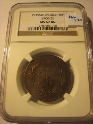 1935 Mo Mexico 10 Centavos Bronze Ngc Ms - 62 Bn photo