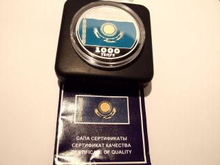 Kazakhstan 1000 Tenge Silver 10 Years Of Tenge – Flag Proof 2003 photo