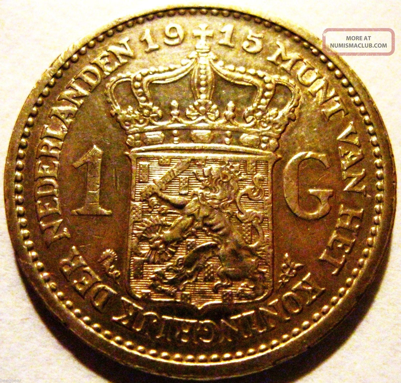 1915 1 Guilder (gulden) Toning & Eye Appeal Europe photo