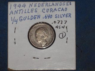 Vintage 1944 Curacao 1/4 Gulden Coin;.  64 Silver;.  0737 Asw (1) photo