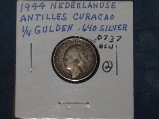 Vintage 1944 Curacao 1/4 Gulden Coin;.  64 Silver;.  0737 Asw (2) photo