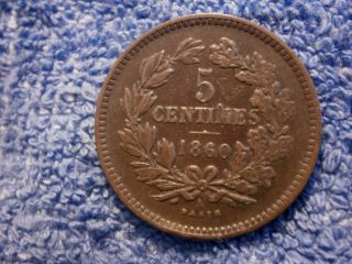 Luxembourg: Scarce 5 Centimes 1860 - A Very Fine++++/extremely Fine photo