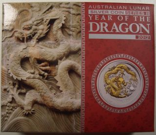 2012 Australia Year Of The Dragon 1 Oz.  Silver Gilded Coin Box/coa photo