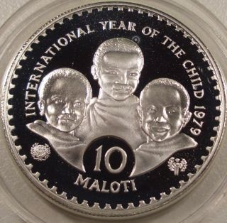1979 Lesotho Year Of The Child $10 Silver Coin photo