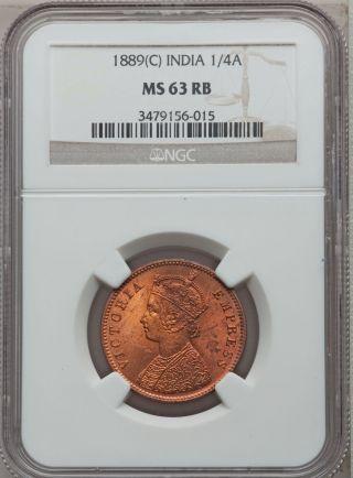 India British Queen Victoria 1889 (c) 1/4 Anna Copper Ngc Ms63 Rb Km 486 photo