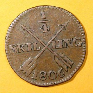 Sweden Copper King Gustav Iv Adolf 1806 1/4 Skilling Brown Km 564 photo