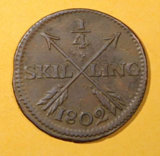 Sweden Copper King Gustav Iv Adolf 1802 1/4 Skilling Brown Km 564 photo