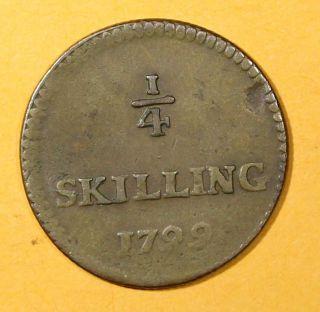 Sweden Copper King Gustav Iv Adolf 1799 1/4 Skilling Low Mintage Km 548 photo