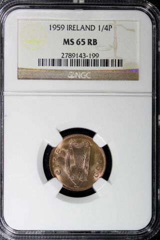 Ireland Bronze 1959 Farthing Ngc Ms65 Rb Red Km 9 photo