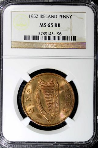 Ireland Republic 1952 Penny Ngc Ms65 Rb Red Km 11 photo