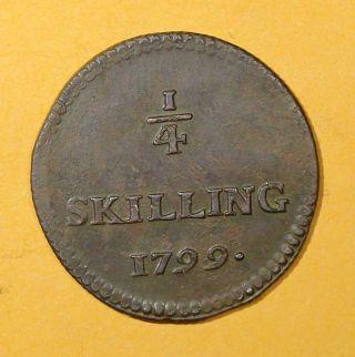 Sweden Copper King Gustav Iv Adolf 1799 1/4 Skilling Low Mintage Chvf Km 548 photo