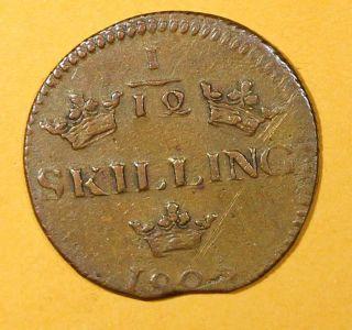 Sweden Copper Carl Xiv Johan 1825 1/12 Skilling Mintage 576,  000 Brown Km 616 photo
