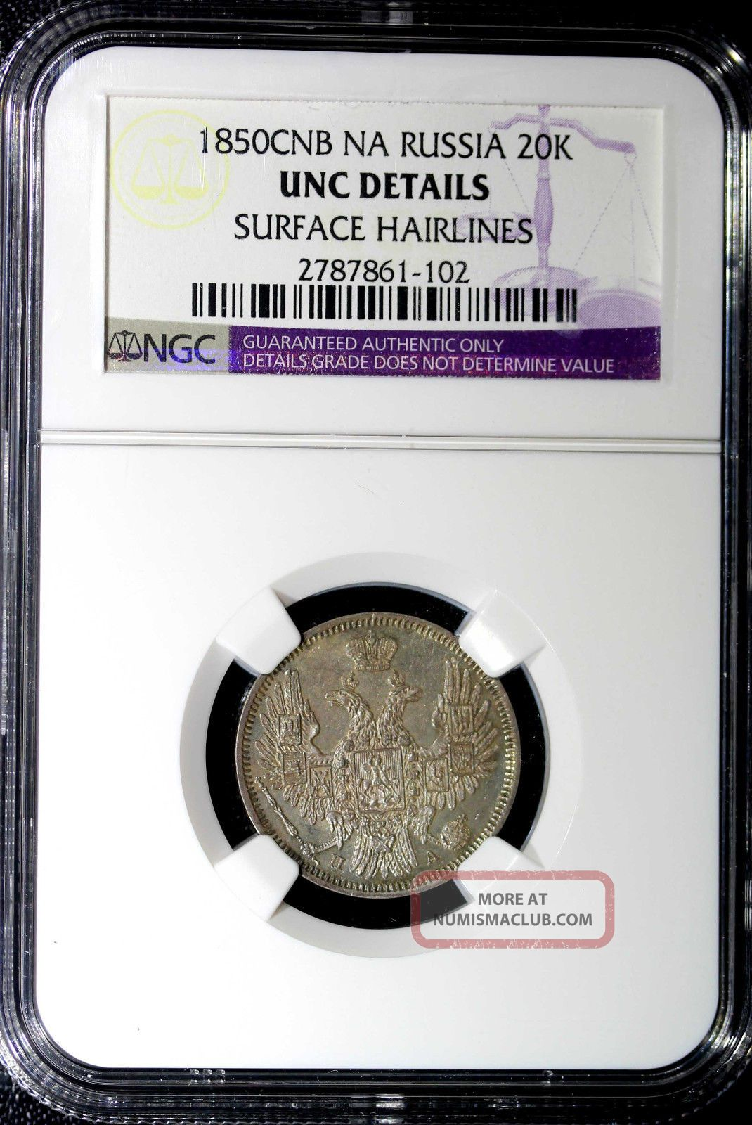 Russia Nicholas I,  Silver 1850 Spb - Na 20 Kopecks Ngc Uncirculated Details Russia photo