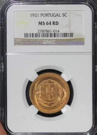 Portugal 1921 5 Centavos Graded Ngc Ms64 Red.  Luster photo