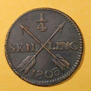 Sweden Copper King Gustav Iv Adolf 1803 1/4 Skilling Brown Xf Km 564 photo