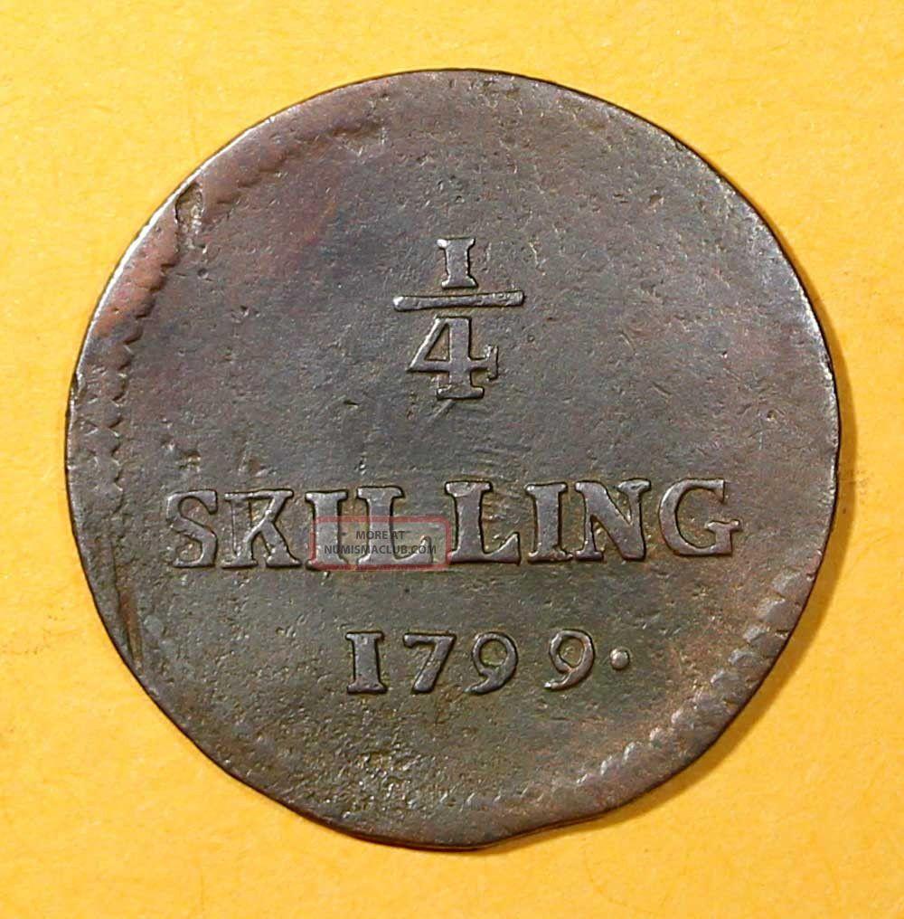 Sweden Copper King Gustav Iv Adolf 1799 1/4 Skilling Low Mintage Km 548 Europe photo