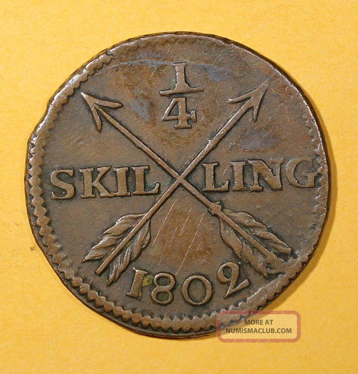 Sweden Copper King Gustav Iv Adolf 1802 1/4 Skilling Brown Km 564 Europe photo