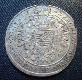 Austria - Hungary / Silver 1 Thaler / Leopold I.  / 1692 K - B photo