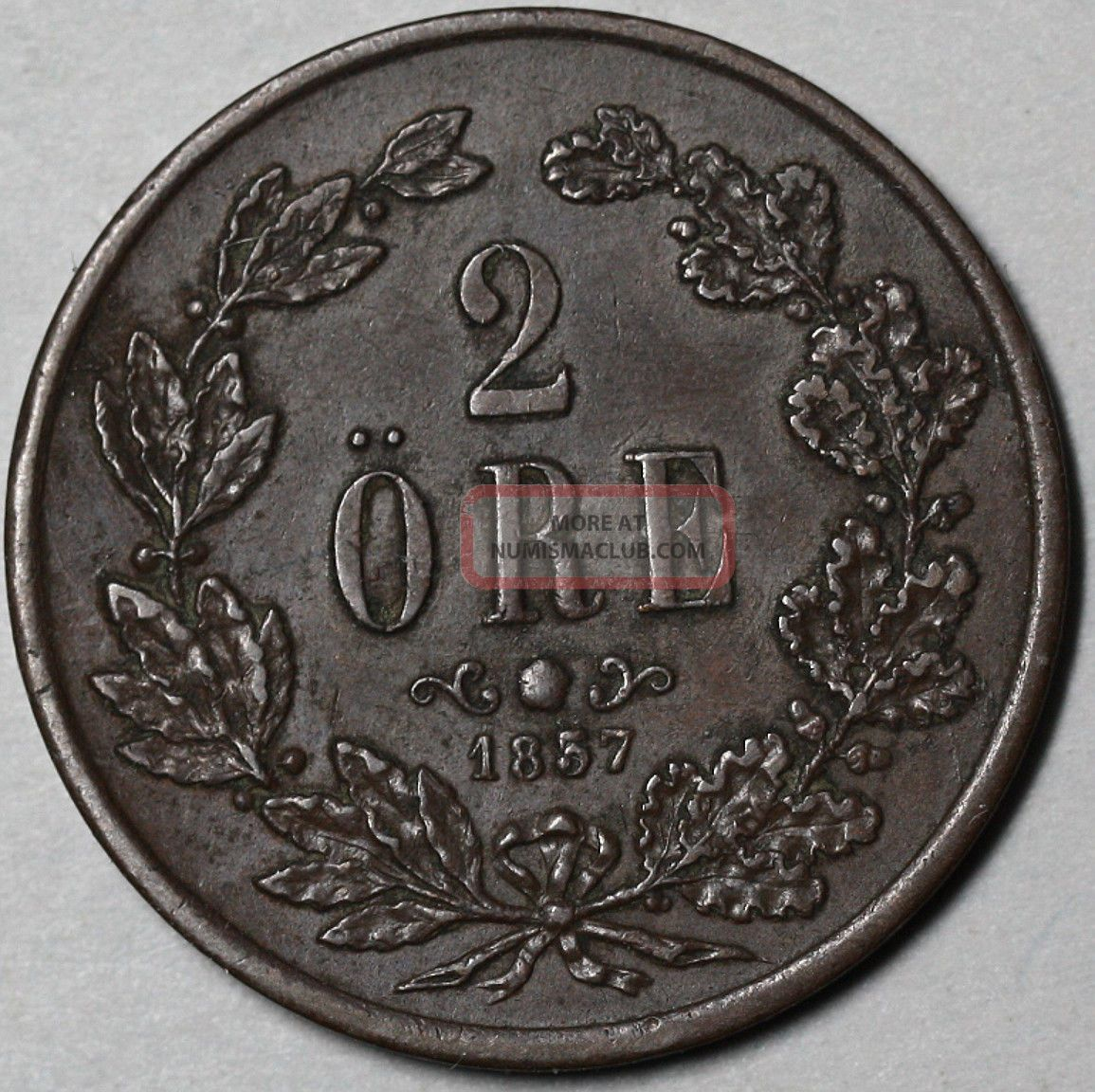 1857 Sweden Bronze 2 Ore Sharp Xf (oscar I King Of Sweden & Norway Coin) Europe photo