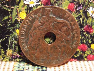 Indo China France 1938 - 1 Cent Bronze Coin Vf Circulated 01 - 1+ photo