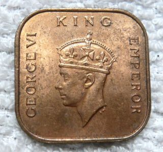 Malaya,  King George Vi 1 Cent Bronze Coin,  1940,  Lustrous Au photo