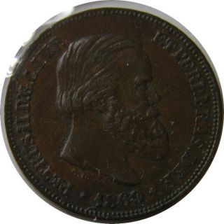 Elf Brazil Empire 10 Reis 1869 Pedro Ii photo