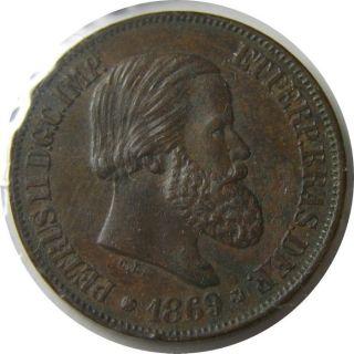 Elf Brazil Empire 20 Reis 1869 Pedro Ii photo
