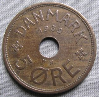 Denmark 1939n - 5 Ore - Christian X photo