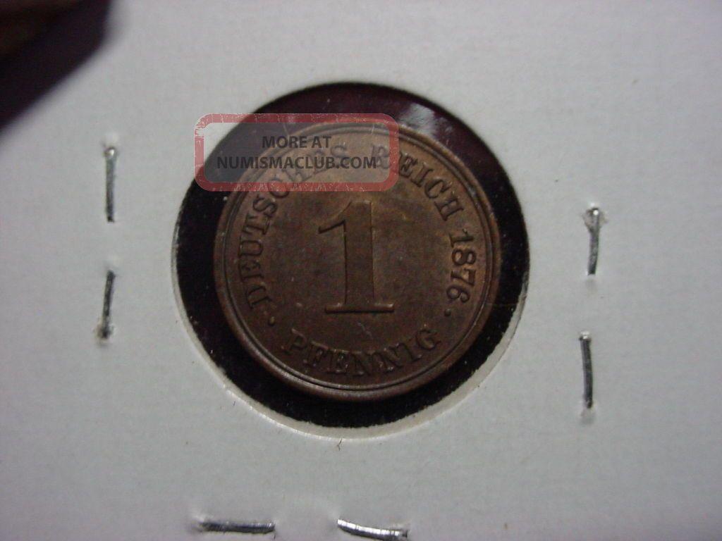 1876 - A 1 Pfennig German Km 1 Ch Au Germany photo