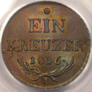 1816 - A Austria Kreuzer - Pcgs Ms64 - Rare Bu Coin photo