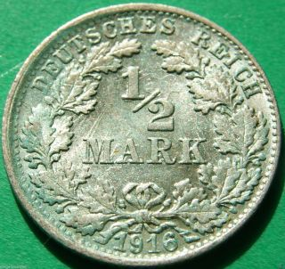 German Empire Silver Coin 1916 F 1/2 Mark Patina photo