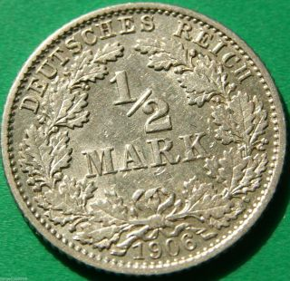 German Empire Silver Coin 1906 G 1/2 Mark Patina photo