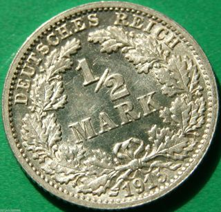 German Empire Silver Coin 1915 F 1/2 Mark Patina photo