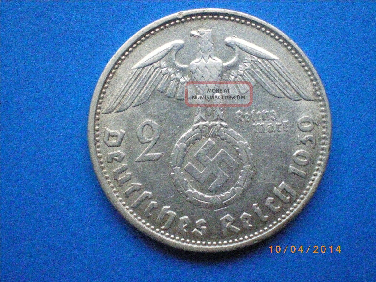 Germany,  Third Reich 2 Reichsmark,  1939,  Swastika - Hindenburg Issue Germany photo