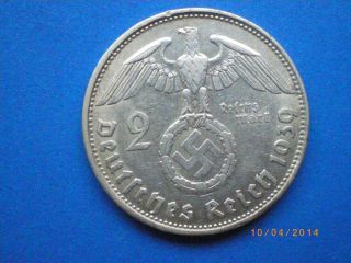 Germany,  Third Reich 2 Reichsmark,  1939,  Swastika - Hindenburg Issue photo