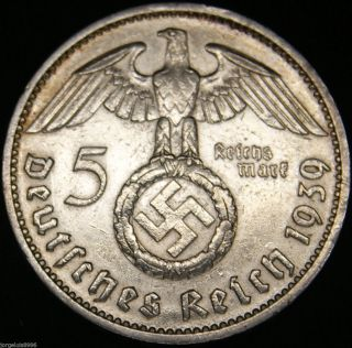 German Nazi Silver Coin 5 Rm 1939 J Big Swastika photo