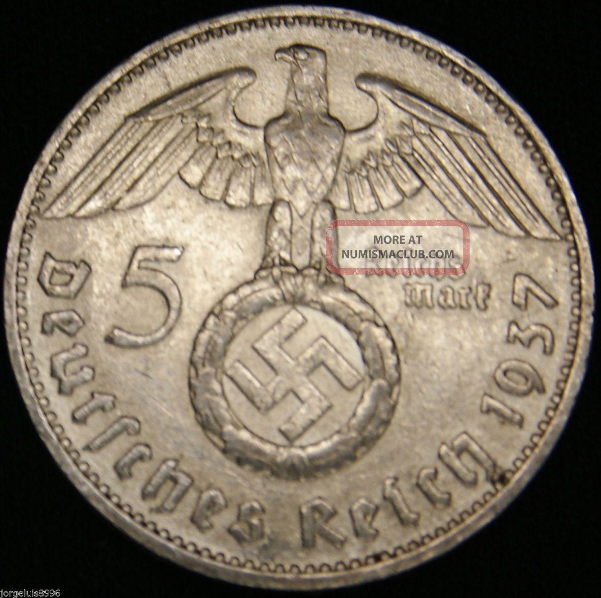 German Nazi Silver Coin 5 Rm 1937 D Big Swastika Germany photo