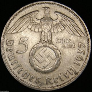 German Nazi Silver Coin 5 Rm 1937 D Big Swastika photo