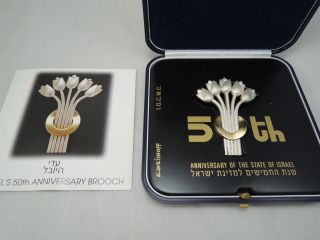 1998 Israel ' S 50th Anniversary Brooch By Eliezer Weishoff 17g Silver +box +coa photo