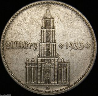 German Nazi Silver Coin 2 Rm 1934 D Garrison Church,  4 Swastikas W/d photo