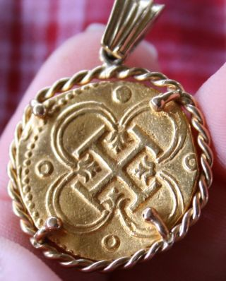 Spanish Philip Ii - Gold Cob Coin 2 Escudos In 14k Gold Pendant 6.  7grams C.  1580 photo