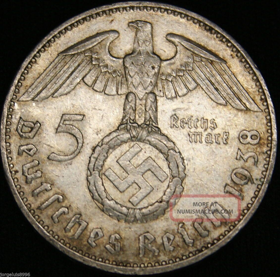 German Nazi Silver Coin 5 Rm 1938 J Big Swastika Germany photo