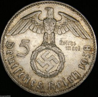 German Nazi Silver Coin 5 Rm 1938 J Big Swastika photo
