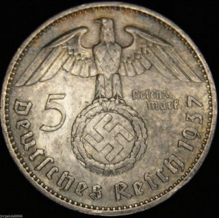 German Nazi Silver Coin 5 Rm 1937 A Big Swastika photo