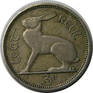 Elf Ireland 3 Pence 1943 Rabbit Hare World War 2 photo