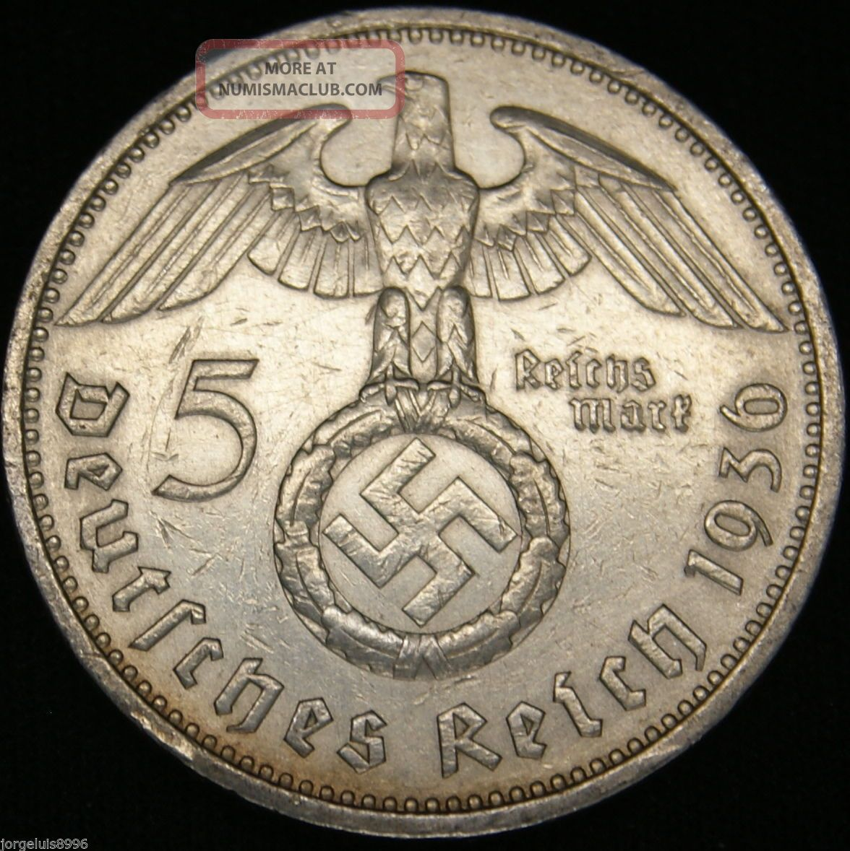 German Nazi Silver Coin 5 Rm 1936 A Big Swastika Germany photo