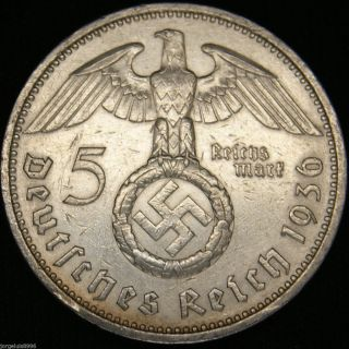 German Nazi Silver Coin 5 Rm 1936 A Big Swastika photo