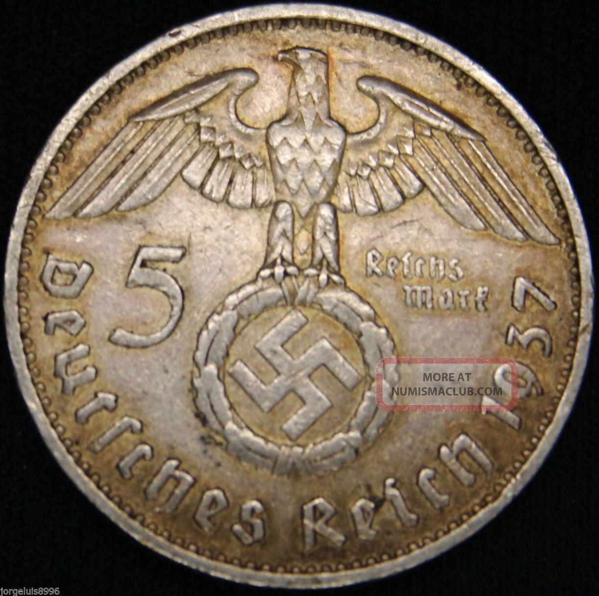 German Nazi Silver Coin 5 Rm 1937 F Big Swastika Germany photo