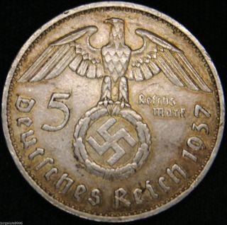 German Nazi Silver Coin 5 Rm 1937 F Big Swastika photo